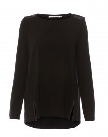 Oliver Black Jersey Tunic with Leather Trim