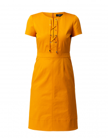 Saffron Yellow Stretch Cotton Tie Front Dress