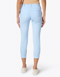 120% Lino - Light Blue Stretch Linen Cotton Cropped Pant