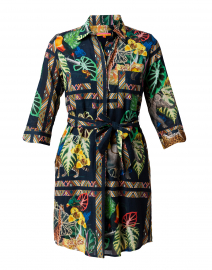 Amanda Navy Safari Printed Cotton Shirt Dress