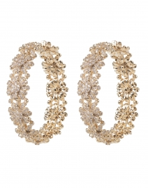 Pave Gold Bloom Floral Hoop Earrings