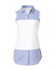 Lea Blue and White Striped Cotton Underlayer Shirt