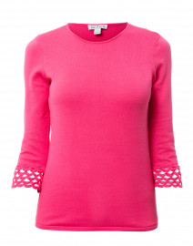 Berry Pink Crochet Trim Cotton Sweater