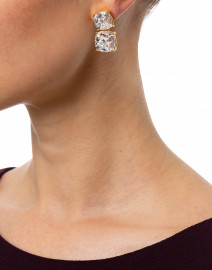 Kenneth Jay Lane - Crystal Square Gold Earrings