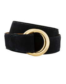 Navy Suede Belt with Double Gold Rings