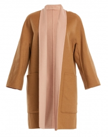 Beige and Pink Reversible Wool Coat