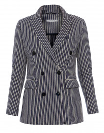 Navy and White Striped Double Breasted Blazer
