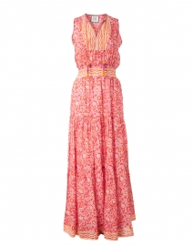 Emily Orange and Pink Floral Cotton Silk Dress