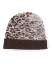 Brown Animal Print Cashmere Knit Hat