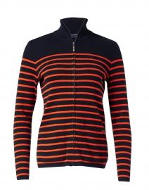 Brooklyn Navy and Orange Striped Cotton Zip Sweater