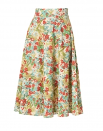Tara Jarmon - Red and Blue Floral Printed Cotton Skirt