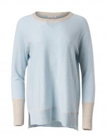 Blue with Beige Trim Cashmere Hi Low Knit Sweatshirt