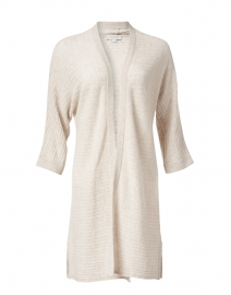 Dune Beige Ribbed Cashmere Open Cardigan