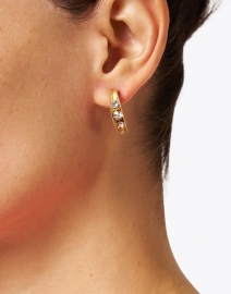 Oscar de la Renta - Gold Crystal Encrusted Small Hoop Earrings