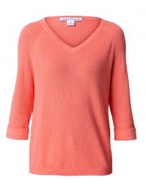 Living Coral Cotton Shaker Sweater