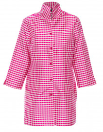 Rita Pink and White Gingham Silk Top