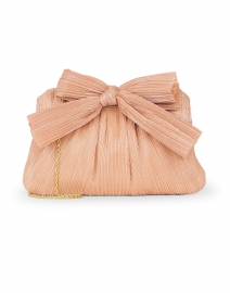Rayne Peach Pleated Lame Bow Clutch