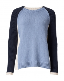 Triple Blue, Navy and Ivory Cotton Sweater