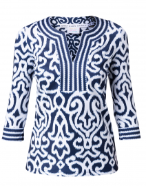 Navy and White Mosaic Printed Tunic