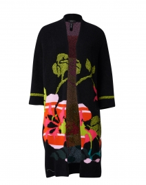 Black Knit Floral Intarsia Cardigan Coat