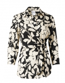 Raleigh Black and Ivory Floral Cotton Shirt