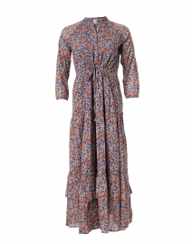 Bazaar Blue and Orange Floral Printed Cotton Voile Maxi Dress