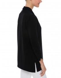 E.L.I. - Black Ruched Sleeve Cotton Cardigan