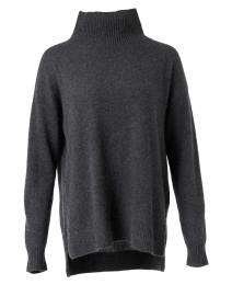 Charcoal Heather Ribbed Cashmere Sweater