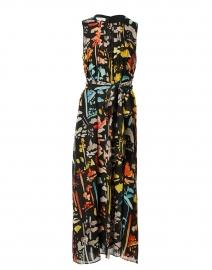 Nia Black Multi Print Silk Dress