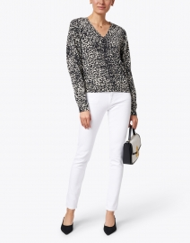 Brochu Walker - Moni Black and White Animal Print Cashmere Sweater