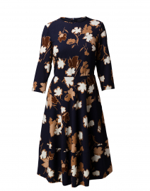 Glenda Navy, White and Brown Floral Print Dress