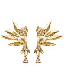 Light Peach Crystal Encrusted and Pearl Bird Earrings