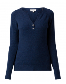 Navy Henley Cashmere Sweater