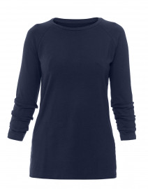 Navy Pima Cotton Ruched Sleeve Tee