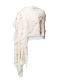 Pale Pink Floral Embroidered Ivory Wool Scarf