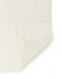 Deivi - Keri Ivory Embroidered Cashmere Scarf