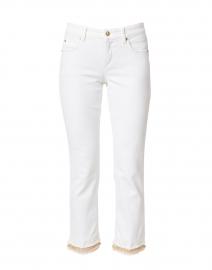 Tess White Cropped Fringe Hem Jean