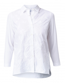 White Floral Embroidered Cotton Shirt