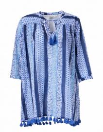 Serafina Blue and White Barre Print Cotton Tunic