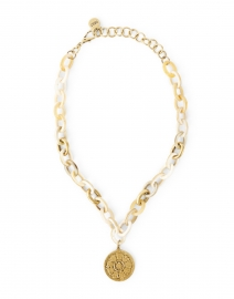 Gold Coin Pendant Horn Link Necklace