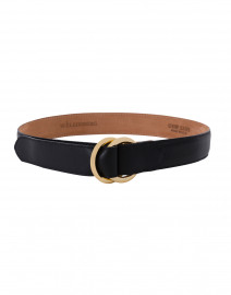 Black Leather Calf Belt with Double Gold Rings