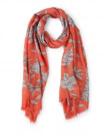 Orange Lily Printed Wool Silk Scarf