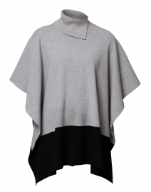 Heather Grey and Black Turtleneck Poncho