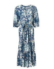 Grand Blue and White Floating Lilies Print Viscose Dress