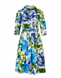 Audrey Los Cabos White and Blue Floral Stretch Cotton Dress