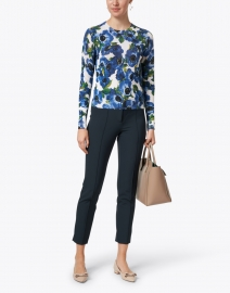 Samantha Sung - Charlotte Blue Annemonie Floral Silk and Cashmere Sweater
