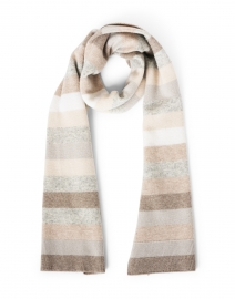 Grey and Neutral Striped Wool Cashmere Scarf