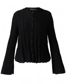 Black Ottoman Stitch Knit Cardigan