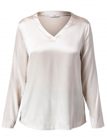 Champagne Beige Stretch Silk Top