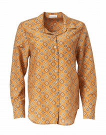 Azra Gold Tile Print Silk Cotton Shirt
